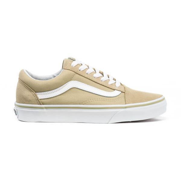 Vans Women's Old Skool Trainers ($70) ❤ liked on Polyvore featuring shoes, sneakers, beige, lacing sneakers, round cap, vans sneakers, round toe sneakers and lace up sneakers