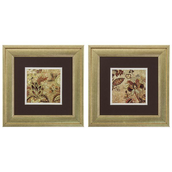 Fusing floral flair with an understated design, this eye-catching two-piece framed art set brings sophisticated style to any corner of your home. Its golden details pair perfectly with shimmering mirrored furniture while its square silhouette blends effortlessly into both casual and formal arrangements. Add this set to the living room to complement a traditional aesthetic, then pair it with a neutral-upholstered sofa and clean-lined end table to round out the ensemble. For a more dynamic…