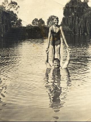 "Jack McElhone and dad Andrew ""The Rocks"" Gwydir River, Moree, 1933. Picture: Supplied by Robert McElhone"