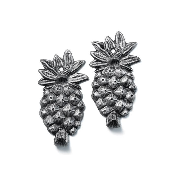Set of 2 hooks shaped like cute pineapple that you can put indoors or outdoors.  FEATURES• Set of 2 cast iron pineapple shaped with a hook at the bottom• Holds up to 10 lbs.• Indoor/outdoor• Hole located at the top, in the middle of the leafy bract that allows you to mount to the wall using a screw or nail  MATERIALS• Metal  Made in China.