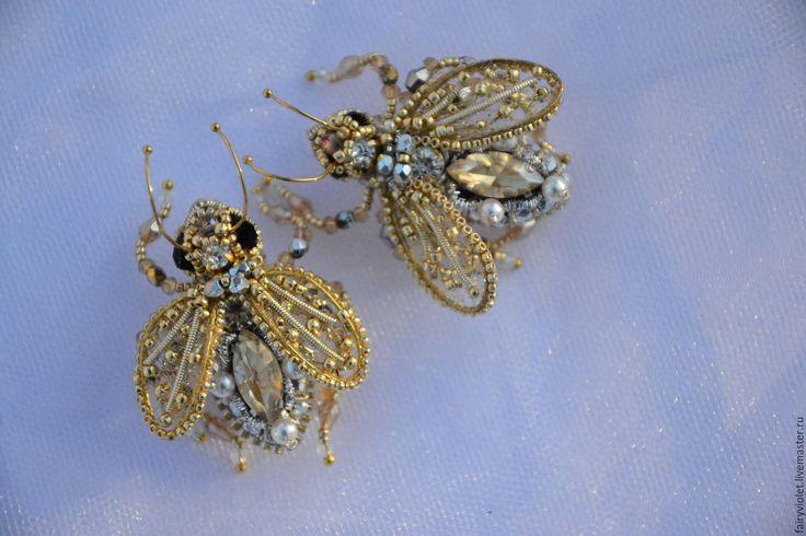 Купить Парная брошь Серебряные Пчелки - золотой, серебряный, брошь, 3Д, муха, мушка, пчела