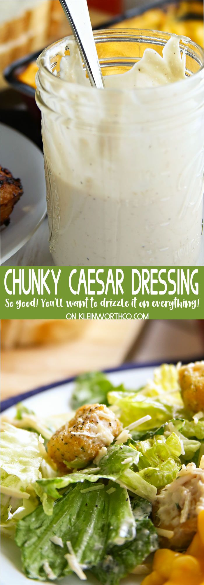 #sponsored Chunky Caesar Dressing Recipe is easy to make so you can always have some on hand. Serve homemade Caesar Salad with grilled chicken & pasta for dinner.  #BalanceYourPlate #CLVR @stouffers/