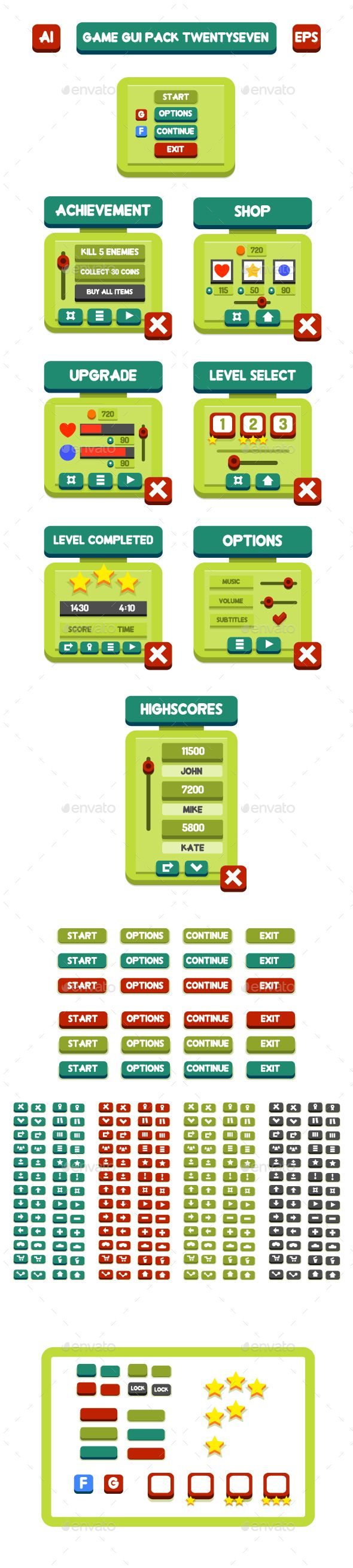Game GUI Pack TwentySeven - User Interfaces Game Assets