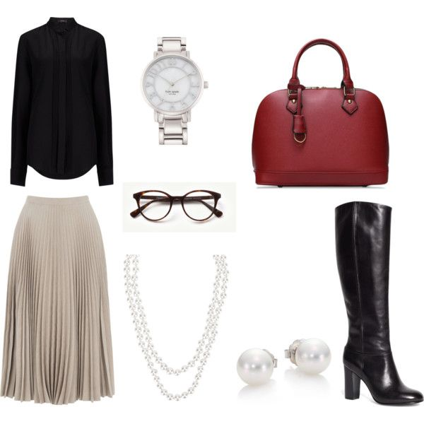 Jackie O 10 by allygardiner on Polyvore featuring Joseph, Warehouse, Brooks Brothers, Mikimoto, Kate Spade and Henri Bendel