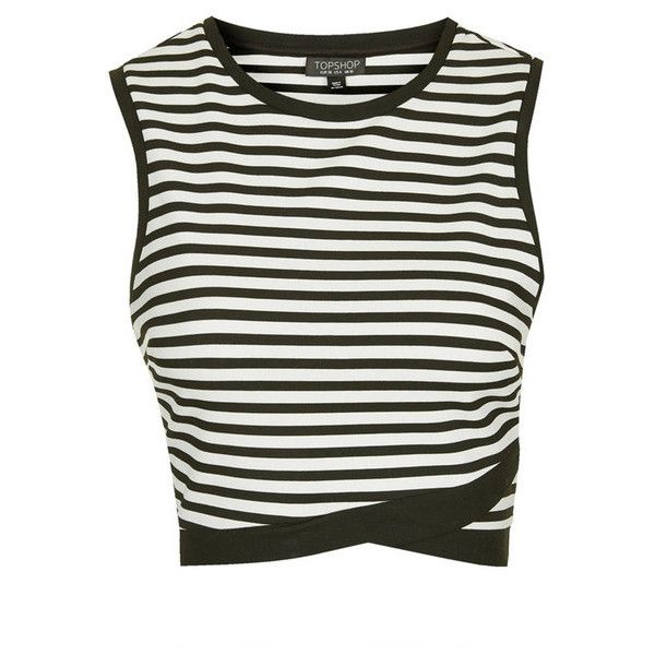 TOPSHOP Stripe Shell Top (€15) ❤ liked on Polyvore featuring tops, shirts, crop tops, striped shirt, cropped shirts, cropped white shirt, sporty crop top and white shell top
