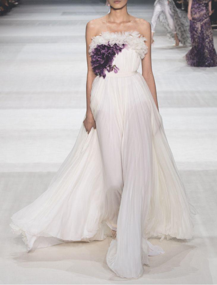 Giambattista Valli wedding gown with a splash of purple.