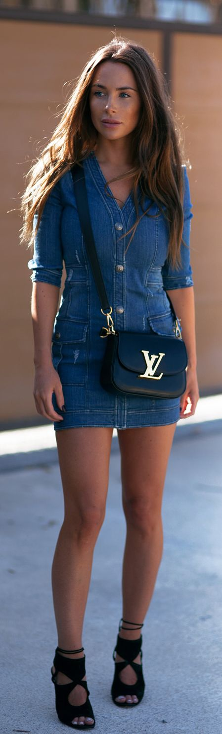Street Style, May 2015: Johanna Olsson is wearing a denim Pierre Balmain dress with black Aquazarra heels and a Louis Vuitton sidebag