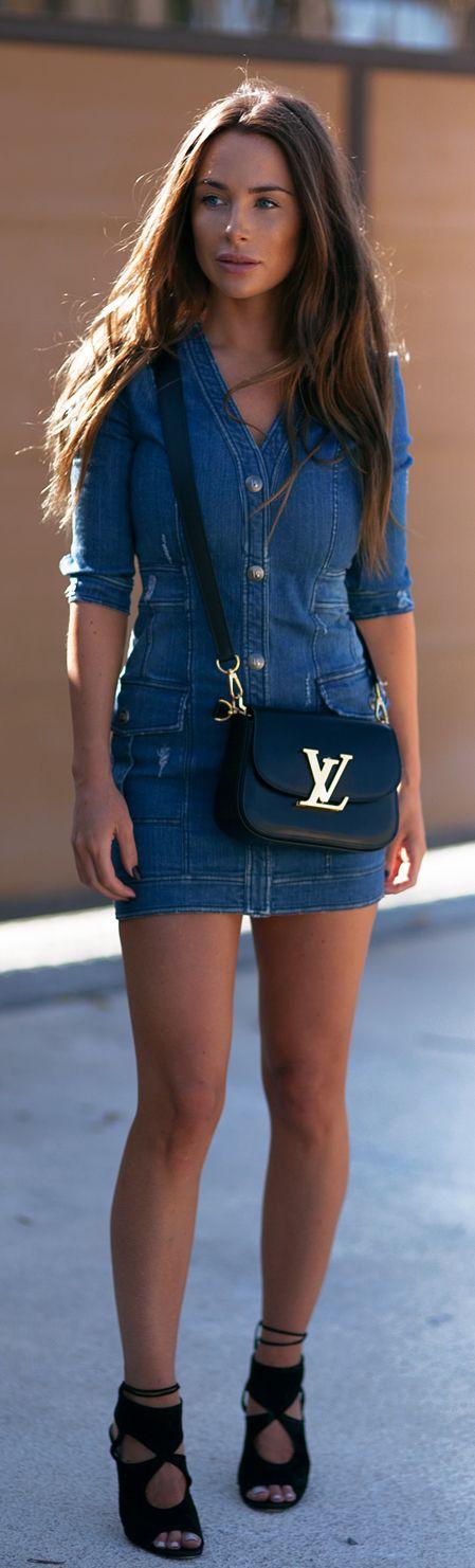 Street Style, May 2015: Johanna Olsson is wearing a denim Pierre Balmain dress with black Aquazarra heels and a Louis Vuitton sidebag