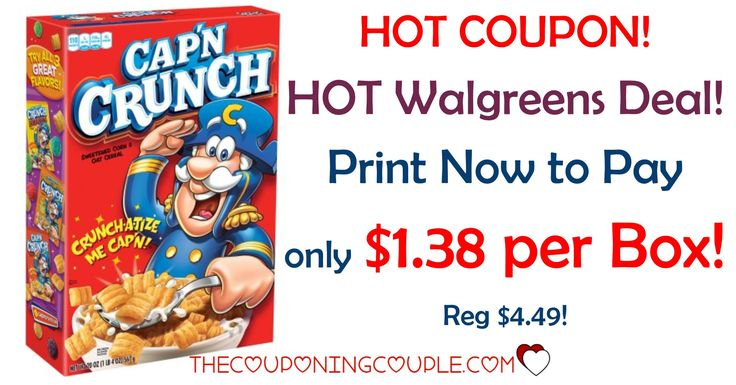 PRINT NOW! Snag Cap'n Crunch Cereal for only $1.38 each at Walgreens (reg $4.49!) Print now before the coupon is gone!  Click the link below to get all of the details ► http://www.thecouponingcouple.com/capn-crunch-cereal/ #Coupons #Couponing #CouponCommunity  Visit us at http://www.thecouponingcouple.com for more great posts!
