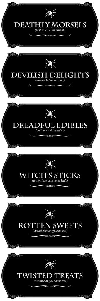Labels for Halloween - Free Printables