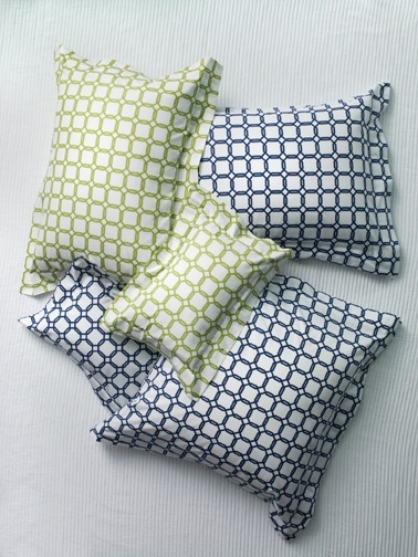Barrington Chartreuse and Navy colored Italian-woven and -printed bedding from SFERRA.