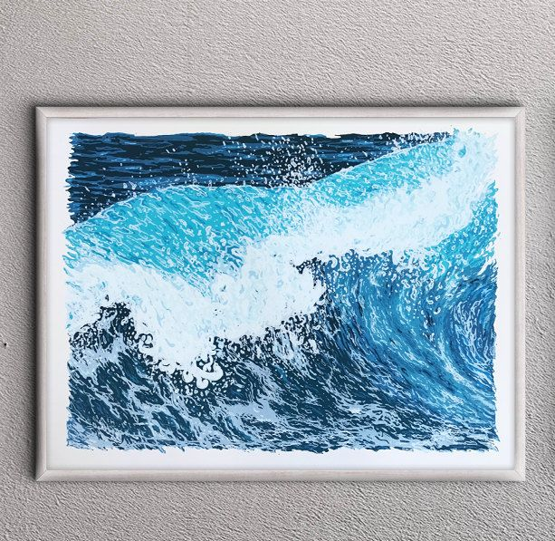 "Ocean Wave Print - Handmade 18: x 24"" serigraph screenprint fine art screenprinted original art print by QuarrelsomeYeti on Etsy"