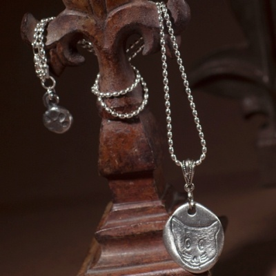 Lucy Hand Crafted Pewter Cat Necklace $78