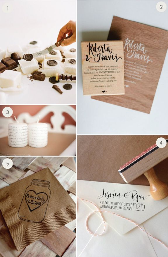 10 Different Ways to Use Rubber Stamps. ( I love the chocolate seals for cakes.  I also ♡ the stamped cookies. )