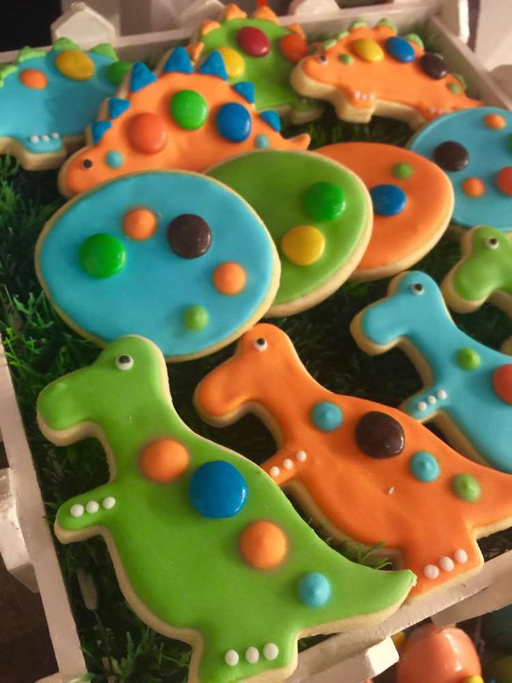 Fun cookies at a Jurassic World dinosaur birthday party! See more party planning ideas at CatchMyParty.com!