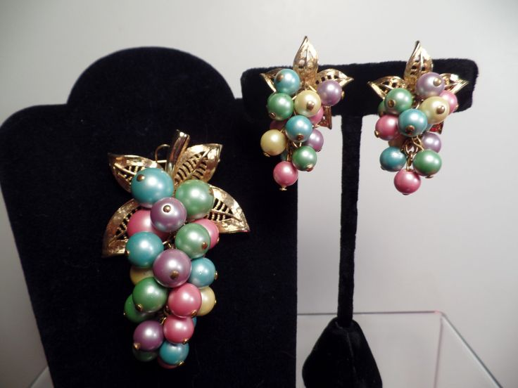 Colorful Grape Cluster Set with Pastel Colors Signed Parklane-1960's by Jewelboy on Etsy https://www.etsy.com/listing/292154811/colorful-grape-cluster-set-with-pastel