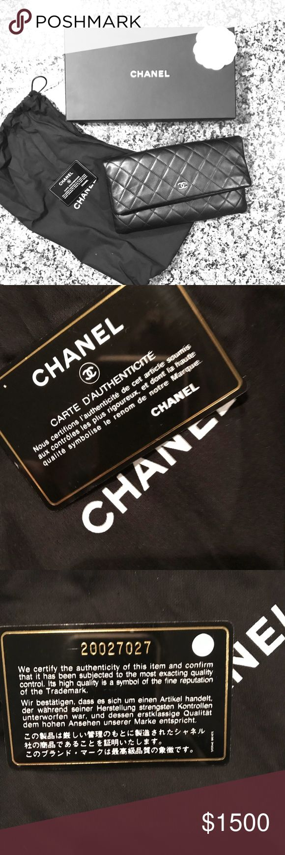 EUC Chanel Quilted Leather Clutch Beautiful, used only a few times Black Quilted Leather Chanel Clutch. Clutch comes with Certificate of Authenticity, dust bag and original box. CHANEL Bags Clutches & Wristlets