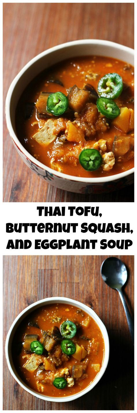 Spicy Thai curry and sweet winter squash pair together perfectly in this Thai tofu, butternut squash, and eggplant soup that will warm your belly from the inside out.