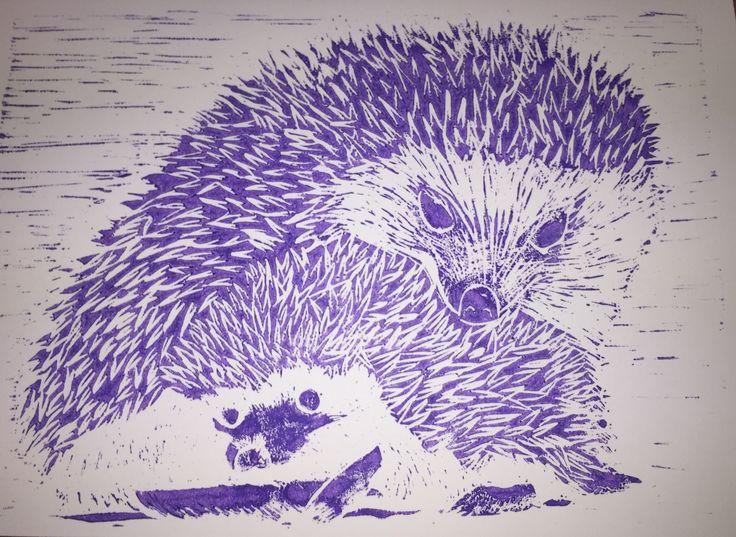 Lino print hedgie