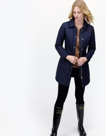 Joules Longline Fitted Quilted Jacket in Marine Navy.