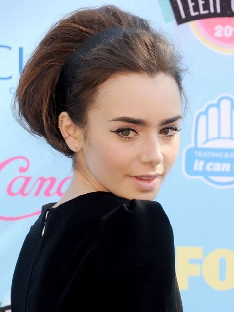 <p>Want to leave an impression? Take a cue from Lilly Collins' and rock a bouffant faux-bob with an Audrey Hepburn-esque headband. Glamour overload.</p>