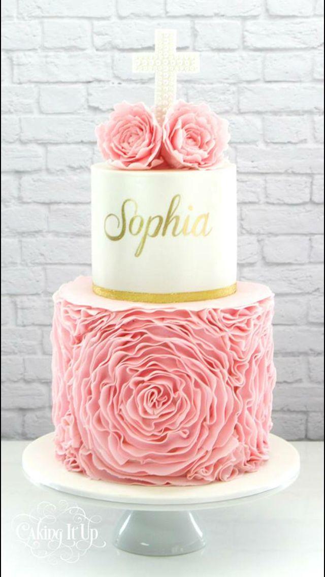 Pink ruffle christening cake
