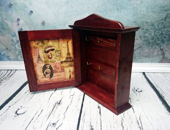 Wooden key box in vintage style French Paris brown vintage
