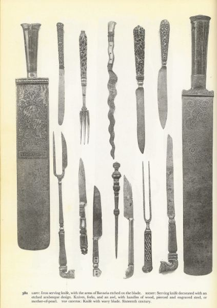 Forks, serving knives, eating knives, awl, c. 16th century