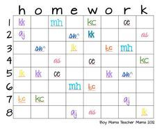 Homework incentive chart. When students turn in homework, they initial a square. When chart is full, pick a square for a prize.