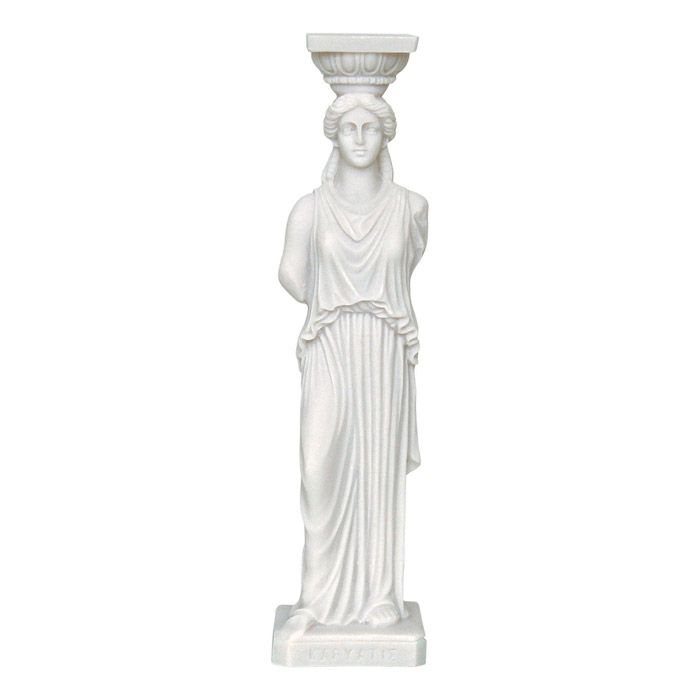 The caryatid is an ancient sculpture of a female form, which was used as a column in the ancient greek architecture. The Erechtheion Caryatids from the Acropolis of Athens, inspired us to create an incredible sculpture. Around 420 B.C., Athens, Ancient Greece. Dimensions: 6 cm x 25 cm x 5,5 cm Statue, made of casted alabaster.