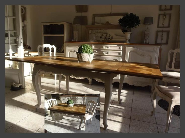 Table en ch ne avec 2 rallonges l 39 italienne patin e gris for Table rallonge chene