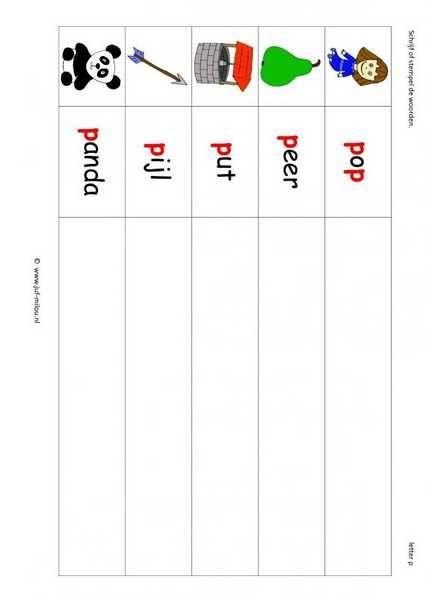 Taal - P woorden stempelen kl 1