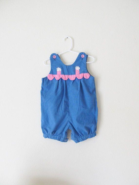 Vintage Baby Girl Toddler Romper / Blue Jean Pink by WeeBabyBug