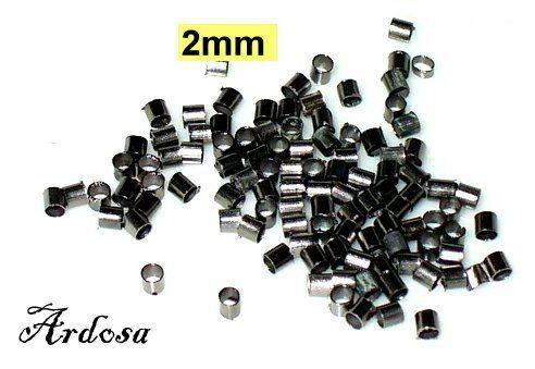 100 Quetschröhrchen Quetschperlen schwarz 2mm  von Schmuckmaterial