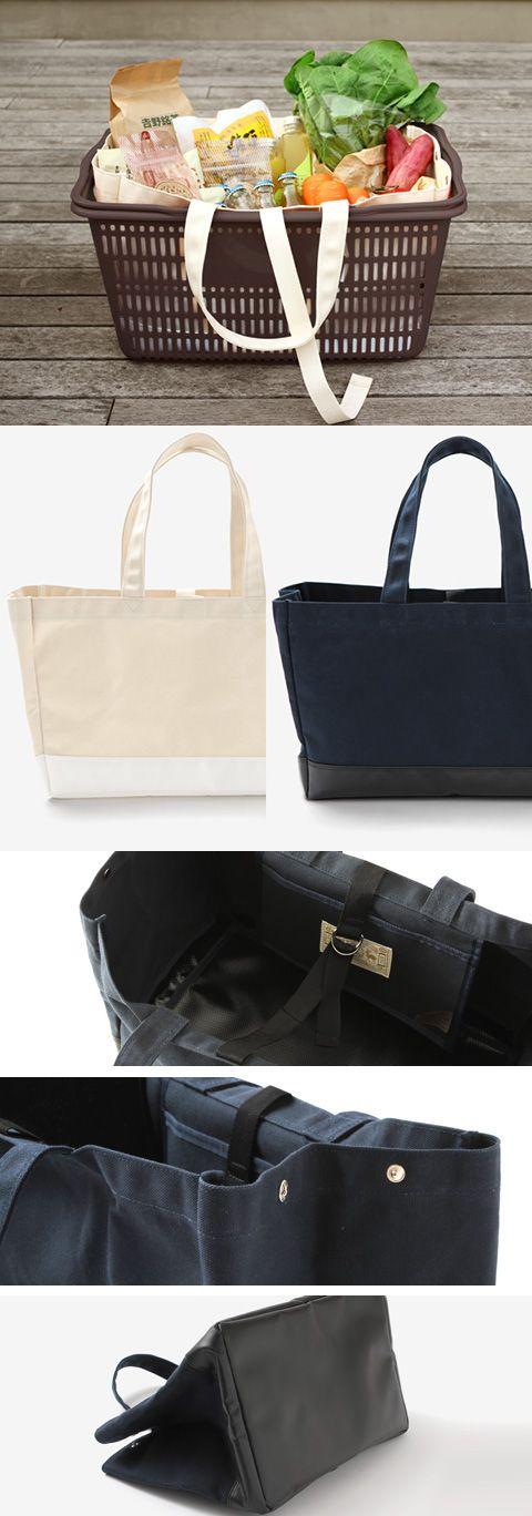 【BAGWORKSコラボ買い物かごトート(中川政七商店)】/兵庫県北部の豊岡市は日本最大のカバンの産地です。その豊岡にて1954年創業、業務用カバンの開発・生産メーカーであり、その高い品質には定評があるバッグワークスとコラボレーションし、買い物かごトートを作りました。こちらのバッグは一般的なスーパーのかごにおさまるサイズに作られており、物を入れやすく、中身がこぼれにくいように留め紐がついています。内側にはポケットを1つ付けました。荷物が重たくなっても持ちやすいように、持ち手は肩にかけることができる長さにしました。パラフィン加工された8号帆布は、使うほどに味わいを増します。バッグの底にはテントやトラックの帆に使われるターポリンを使用し、汚れにくく大変丈夫です。収納道具としても、またアウトドアシーンでも活躍します。 #bag #ecobag #totebag #sailcloth