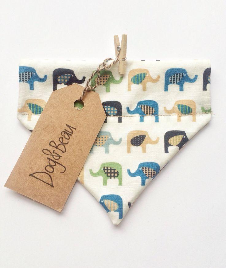Dog bandana, elephant print bandana, doggy bandana, dog gift, bandana, bandana for pets, gifts for pets, by DogandBeau on Etsy