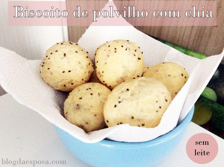 Biscoito de polvilho caseiro com chia (sem leite)