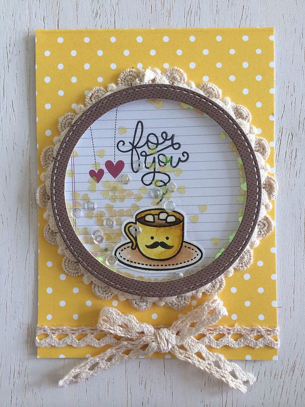 Lawn Fawn - Love You a Latte + coordinating dies, Sweater Weather paper, Sunflower Notecard _ super sweet shaker card by Lexa via Flickr - Photo Sharing!