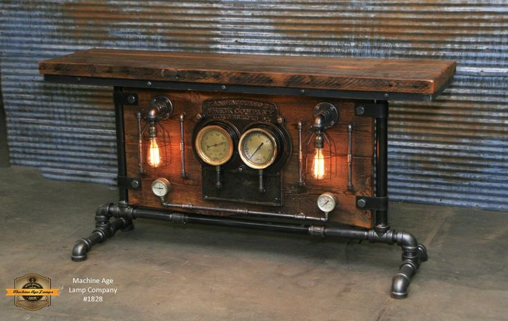 "Ready to ship! ships in 48 business hours  Each lamp/table has a unique serial number and signed, (serial numbers can be tracked on our website)  Table number #1828 Antique industrial / steampunk sofa or hallway table Amazing Antique Frick Company Gauge board This super cool and difficult to find frick board is made of cast iron Original patina and finish, we coated with a light coating to seal and protect Two 6"" steam gauges mounted to the front of board  Pair of antique 2&quo..."