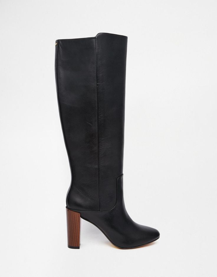 Image 2 of Ted Baker Haruto Black Leather Knee Heeled Boots