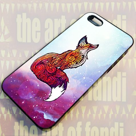 Space Fox For iPhone 4 or 4s Black Rubber Case