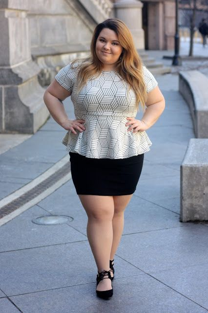 Perfect outfit for the office: Plus size peplum top, pencil skirt, and some adorable lace up ballet flats!