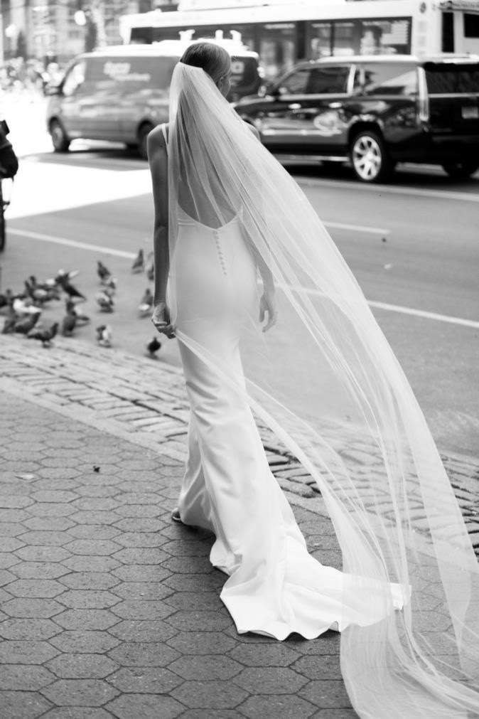 Made With Love Bridal Perfect Long Skinny Veil And Simple Chic Button Down Back Wedding Dress With Veil Wedding Dresses Simple Wedding Dresses