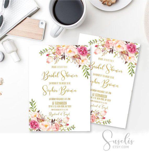 Bridal Shower Invitation card Boho Shabby Bridal Shower Card