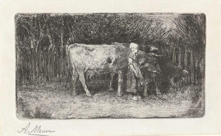 Anton Mauve | Meisje bij de koeien, Anton Mauve, 1848 - 1888 | Een meisje met een kapje op het hoofd en een stok in de hand staat naast twee koeien. Op de achtergrond een hek.