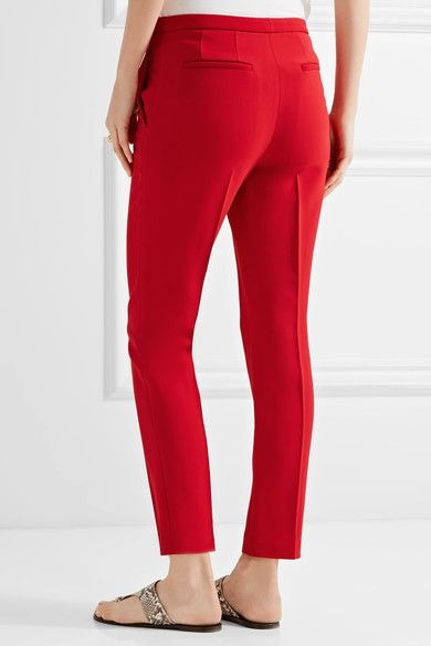 Rosetta Getty - Cropped Stretch-cady Skinny Pants - Red - US