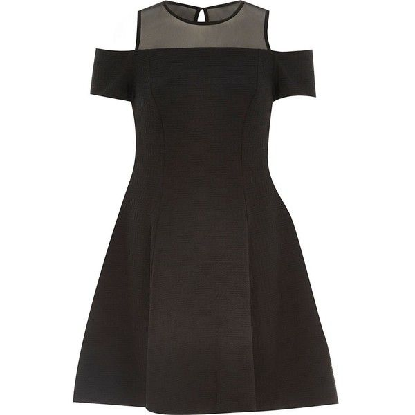 River Island Black textured jersey cold shoulder dress ($29) ❤ liked on Polyvore featuring dresses, sale, textured dress, mesh panel dress, fit and flare cocktail dress, river island dresses and mesh insert dress