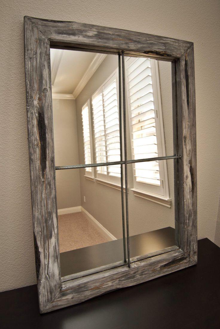 Rustic Mirror Distressed Faux Window   Greywash By UrbanWestDesigns On Etsy  Https://www