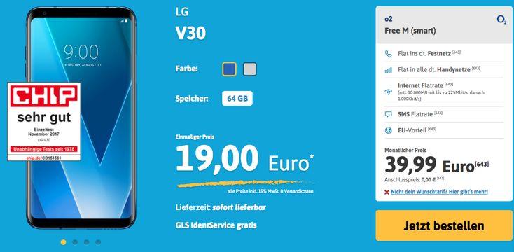 o2 Free M (smart)    Flat ins dt. Festnetz  Flat in alle dt. Handynetze  Internet Flatrate  (mtl. 10.000MB mit bis zu 225Mbit/s, danach 1.000Kbit/s)  SMS Flatrate  EU-Vorteil  Monatlicher Preis  39,99 Euro  https://www.handyflat.de/smartphones/lg-h930-v30/?artikel_id=13657&tarif_id=1725