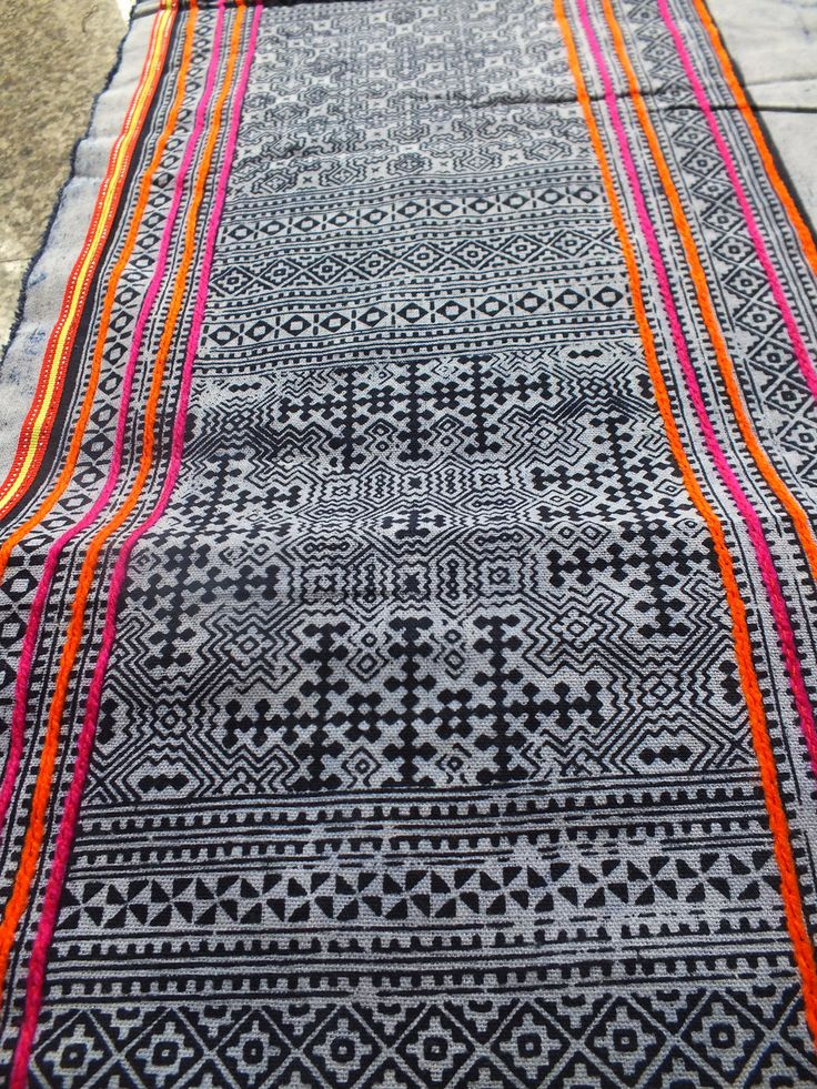 Handwoven Hmong  cotton, Vintage fabric Indigo green  textiles and fabrics- from thailand. $24.00, via Etsy.